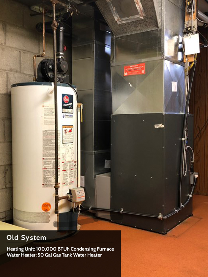 Old System - Heating Unit: 100,000 BTUh Condensing Furnace | Water Heater: 50 Gal Gas Tank Water Heater